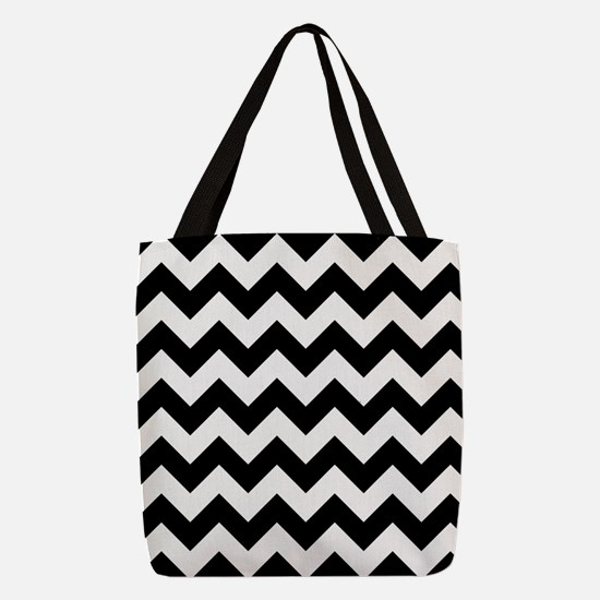 Black And White Chevron Pattern Polyester Tote Bag