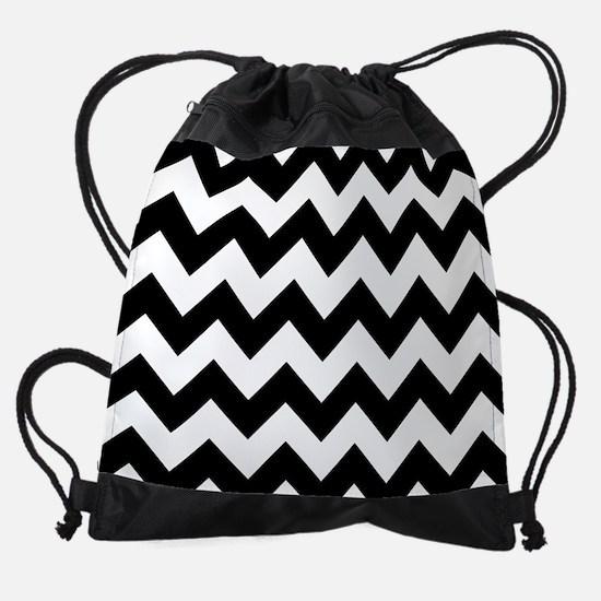 Black And White Chevron Pattern Drawstring Bag