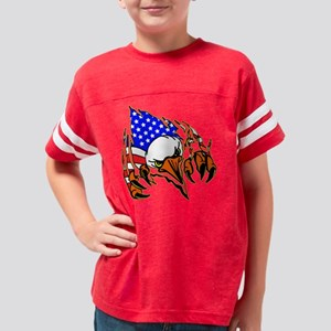 Eagle Tear Out w/ USA Flag Youth Football Shirt