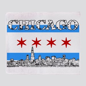Chicago outline-5-FLAG Throw Blanket
