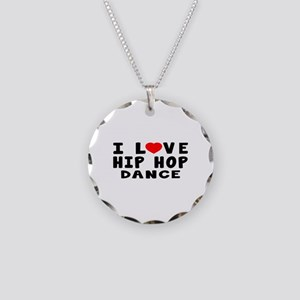 I Love Hip Hop Necklace Circle Charm