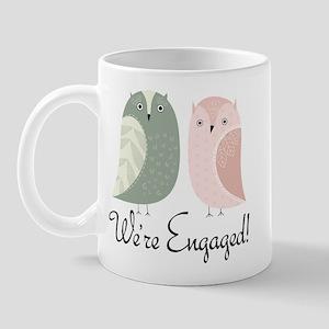 We're Engaged Owl Couple Mug