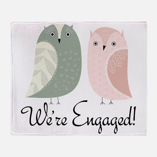 We're Engaged Owl Couple Throw Blanket