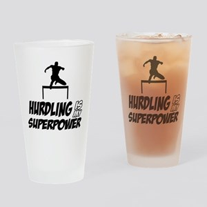 hurdling is my superpower Drinking Glass