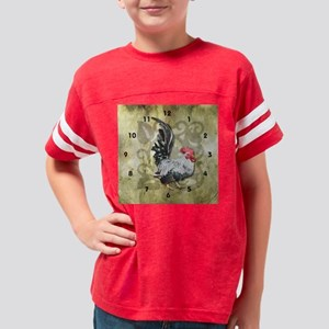 Modern Rooster Clock Youth Football Shirt