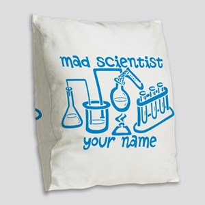 Personalized Mad Scientist Burlap Throw Pillow