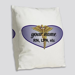 Personalized Nurse Burlap Throw Pillow