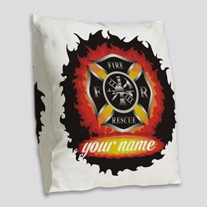 Personalized Fire and Rescue Burlap Throw Pillow