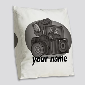 Shutter Bug Burlap Throw Pillow