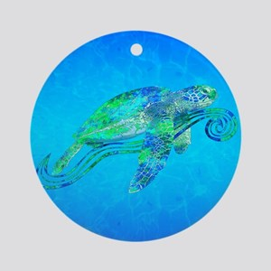 Sea Turtle Wave Ornament (Round)