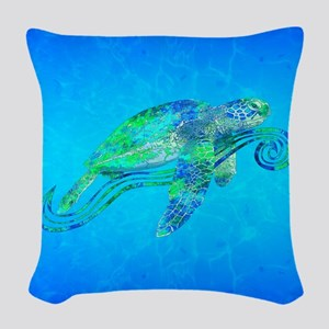 Sea Turtle Wave Woven Throw Pillow