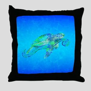Sea Turtle Wave Throw Pillow