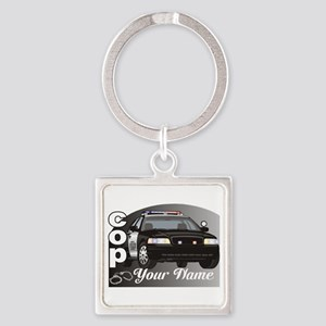 Custom Personalized Cop Square Keychain