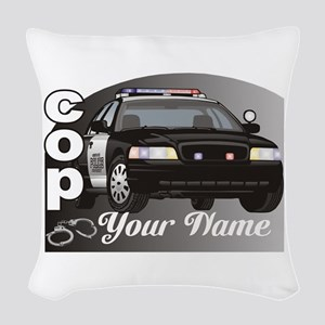 Custom Personalized Cop Woven Throw Pillow