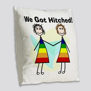 We got hitched LARGE Burlap Throw Pillow