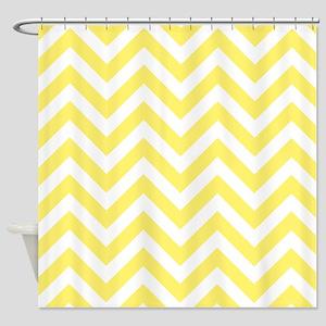 Yellow and White chevrons 6 Shower Curtain