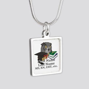 Custom Owl Medical Graduate Silver Square Necklace