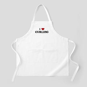 I Love Curling BBQ Apron