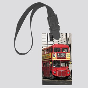 Vintage Red  London Bus Large Luggage Tag