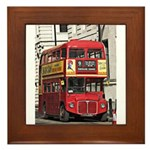 Vintage Red London Bus Framed Tile