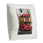 Vintage Red London Bus Burlap Throw Pillow