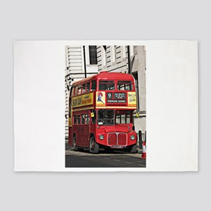 Vintage Red London Bus 5'x7'Area Rug