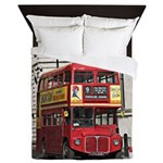 Vintage Red London Bus Queen Duvet
