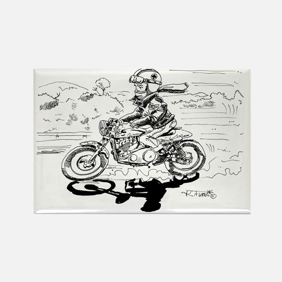 Caferacer black and white illustr Rectangle Magnet