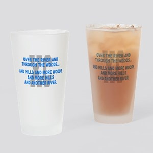 Over the River Cross Country Quote Drinking Glass