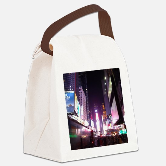 New York Times Square at Night Canvas Lunch Bag