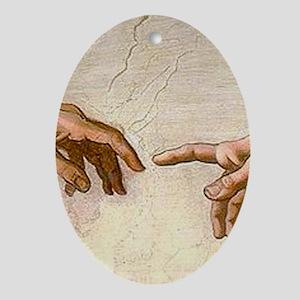 Michelangelo Creation of Adam Oval Ornament