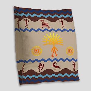 Spirit Path Rock Art Burlap Throw Pillow