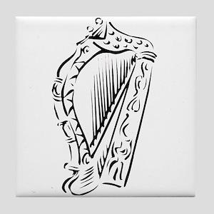 harp outline Tile Coaster