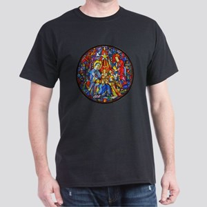 Stained Glass Style Nativity Dark T-Shirt