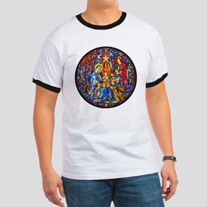 Stained Glass Style Nativity Ringer T