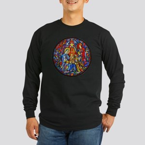 Stained Glass Style Nativ Long Sleeve Dark T-Shirt