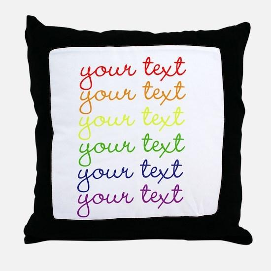roygbiv cursive Throw Pillow