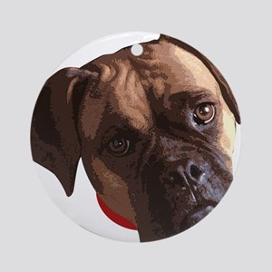 Boxer face 002 Ornament (Round)