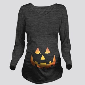 Scary Pumpkin Face Long Sleeve Maternity T-Shirt