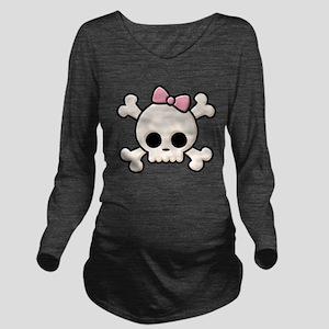 Cute Skull Girl Long Sleeve Maternity T-Shirt