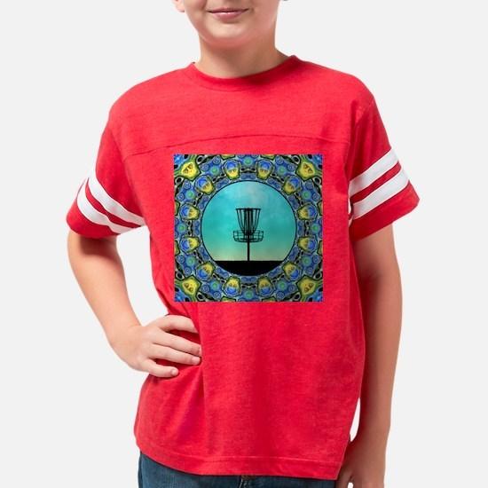 Disc Golf Abstract Basket 5 Youth Football Shirt