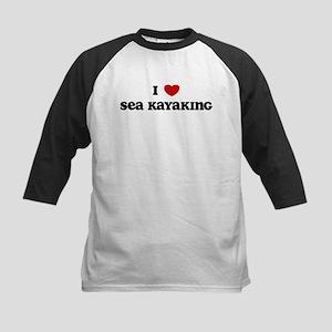I Love Sea Kayaking Kids Baseball Jersey