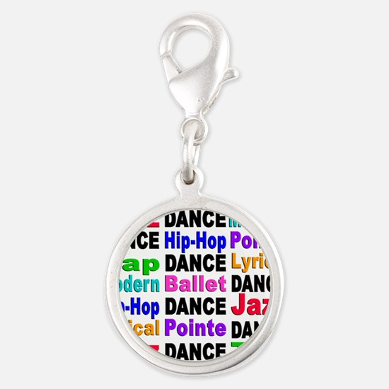 Dance Styles #2 Silver Round Charm