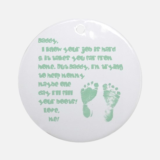 Daddy, Blue Foot Prints Ornament (Round)