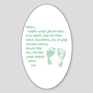 Daddy, Blue Foot Prints Oval Sticker