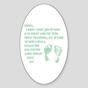Daddy, Blue Foot Prints Oval Sticker