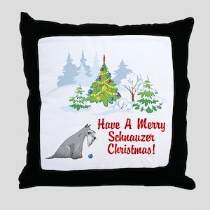 Christmas Miniature Schnauzer Throw Pillow