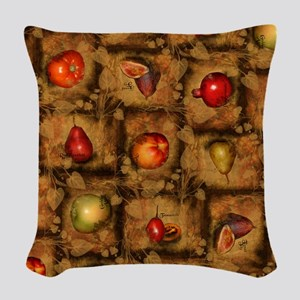 Fruit Collage Pattern Woven Throw Pillow