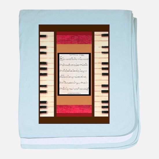Piano Keys Sheet Music Song K. Hubler baby blanket