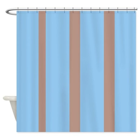 light blue and brown stripes shower curtain by familyfunshoppe. Black Bedroom Furniture Sets. Home Design Ideas